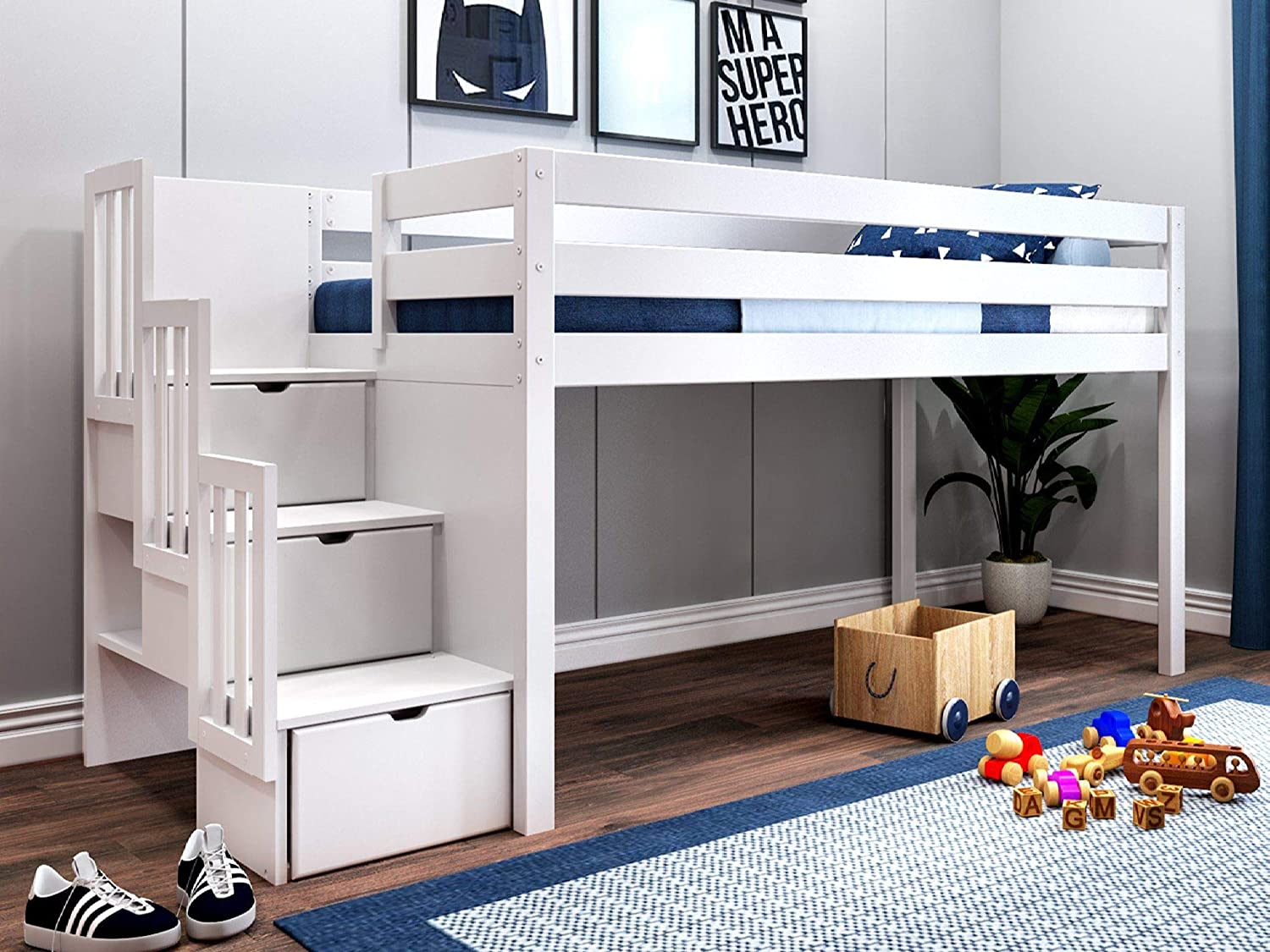 Amazon Com Jackpot Jp St White Contemporary Low Twin Stairway Loft Bed Furniture Decor