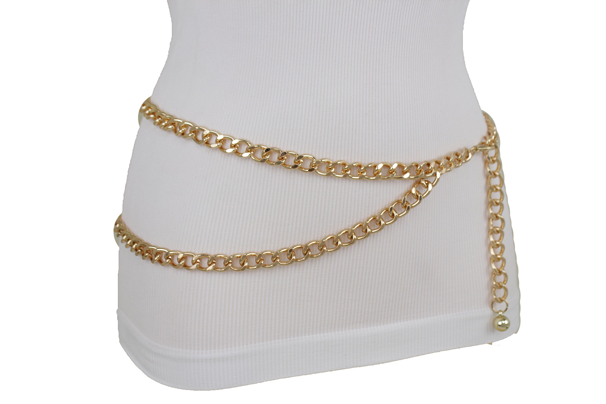 TFJ Women Metal Belt Hip Waist Gold Metal Chain Links Strands Plus M L XL