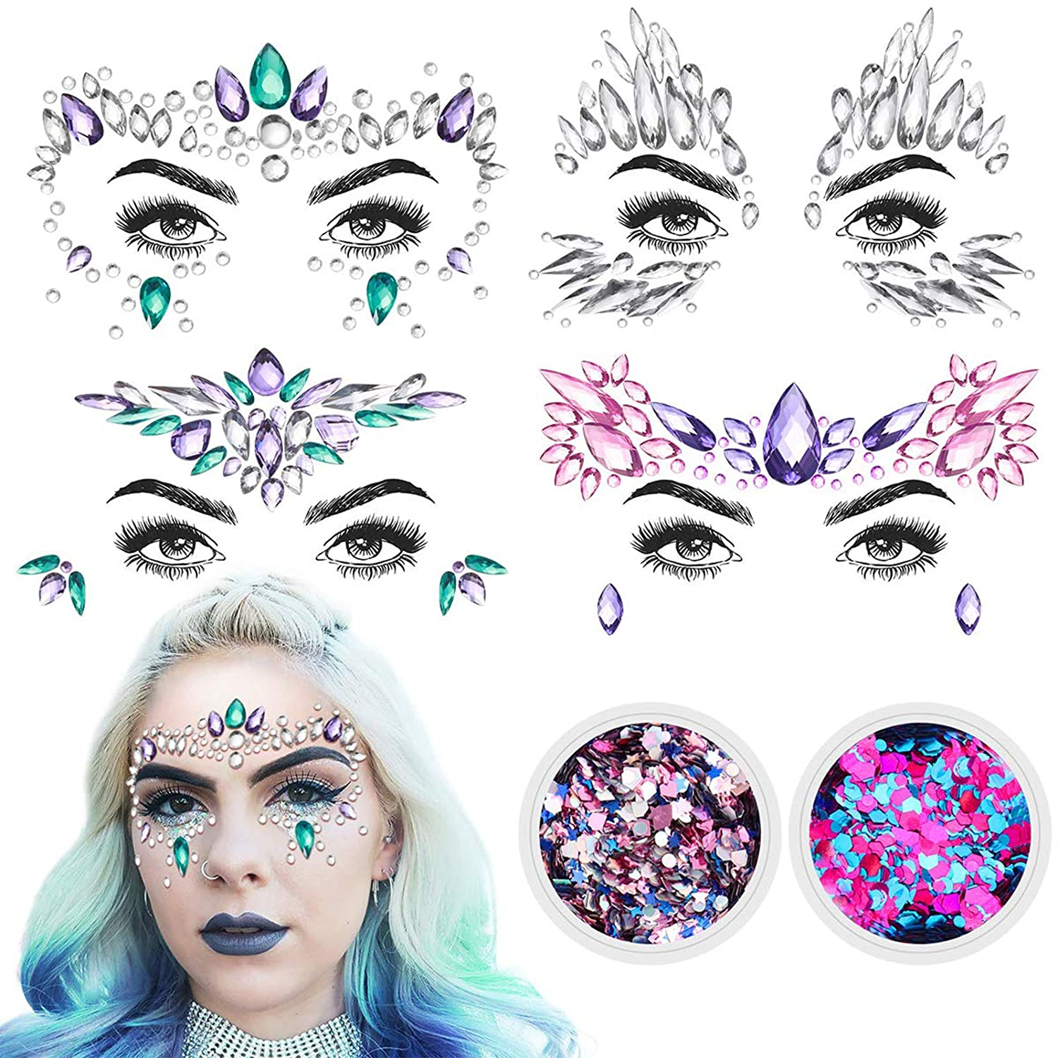 Diamond Face, 4 Sets Women Mermaid Face Jewels Face Gems & 2 Face Glitter Face Stickers Temporary Stickers