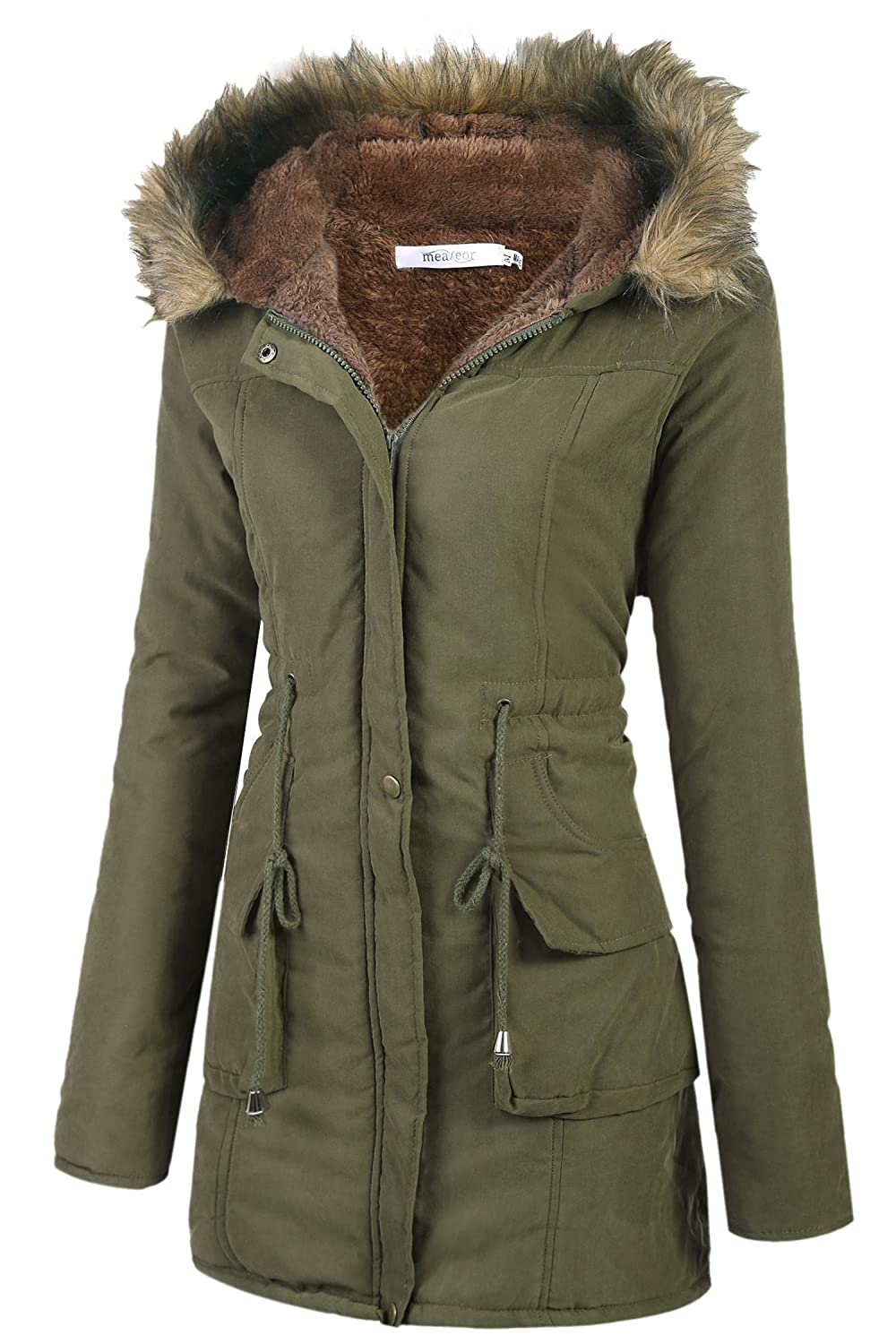 cab1ab474 Meaneor Womens Hooded Warm Winter Faux Fur Lined Parkas Long Coats