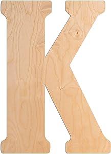 UNFINISHEDWOODCO 23-Inch Vintage Wood Letter K - Single Initial Wall Decor Monogram & Door Hanger Alphabet Wooden Decorative Letters for Baby Room
