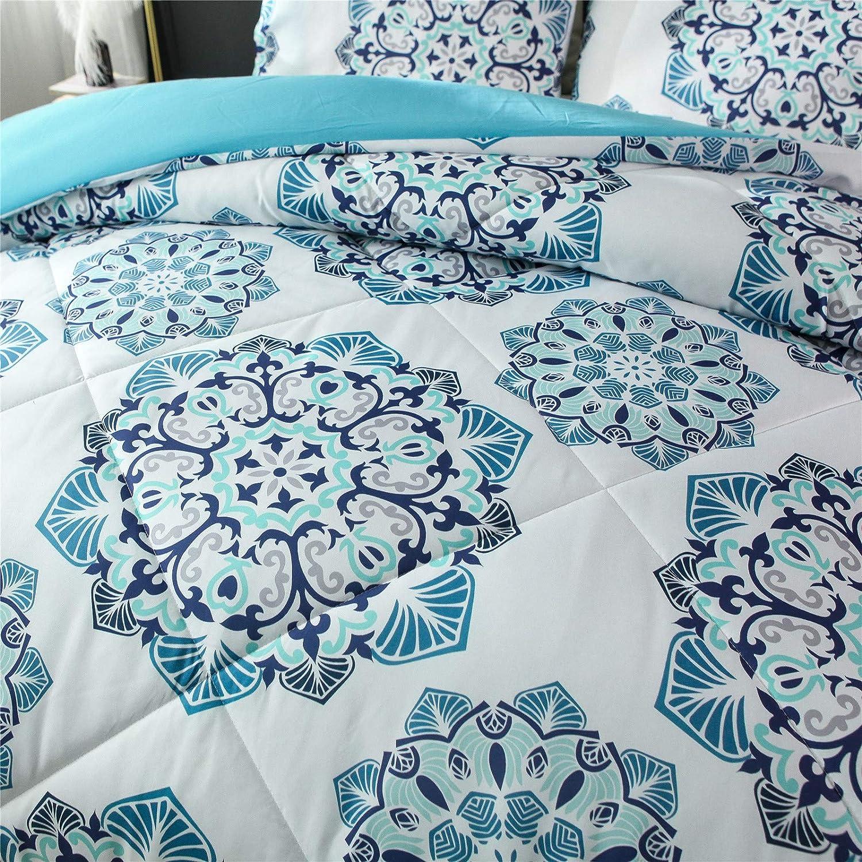 Meeting Story 3Pcs Mandala Bohemian Moonlight Bedding Bedspread Comforter Set Blue, Queen
