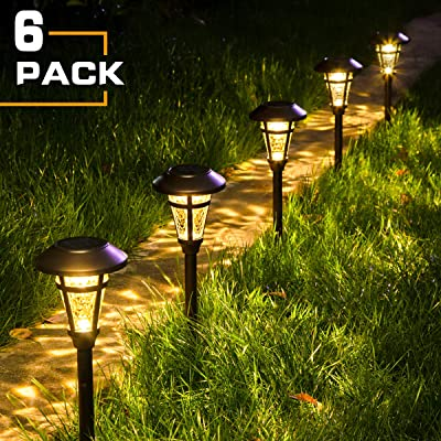 Solpex Solar Pathway Lights Outdoor, 6 Pack Solar Garden Lights, Bronze Finshed, Waterproof Solar Walkway Lights Outdoor Lawn, Patio, Yard, Garden, Pathway, Walkway and Driveway.