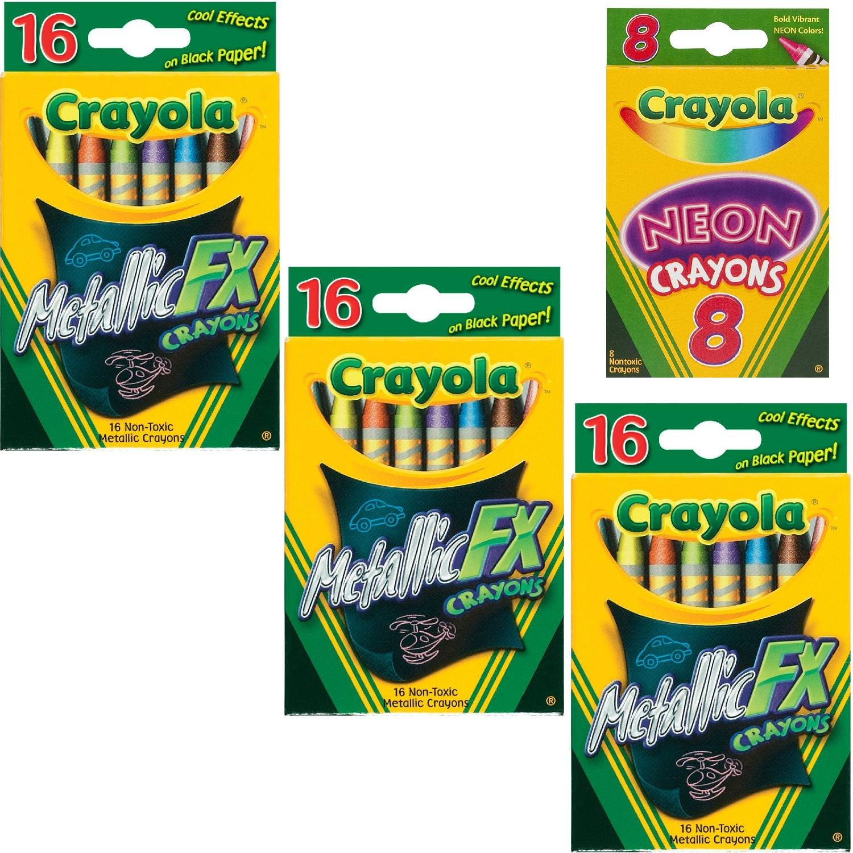 Crayola Metallic FX Crayons (3-Pack of 16) Bundle with Box of Neon Crayons