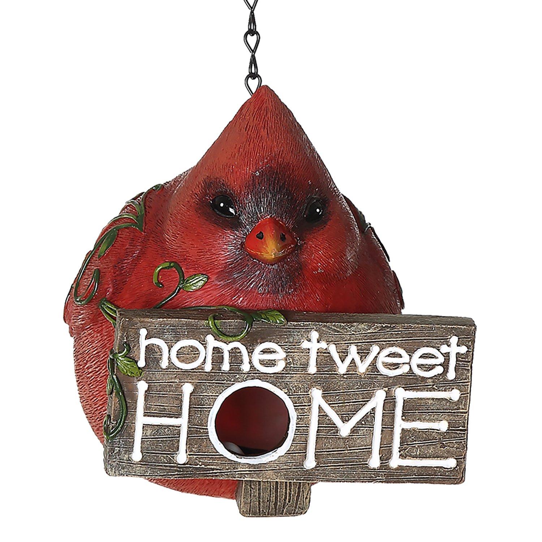 CEDAR HOME Hanging Bird Houses Outdoor Garden Patio Decorative Pet Cottage Resin Birdhouses, Red