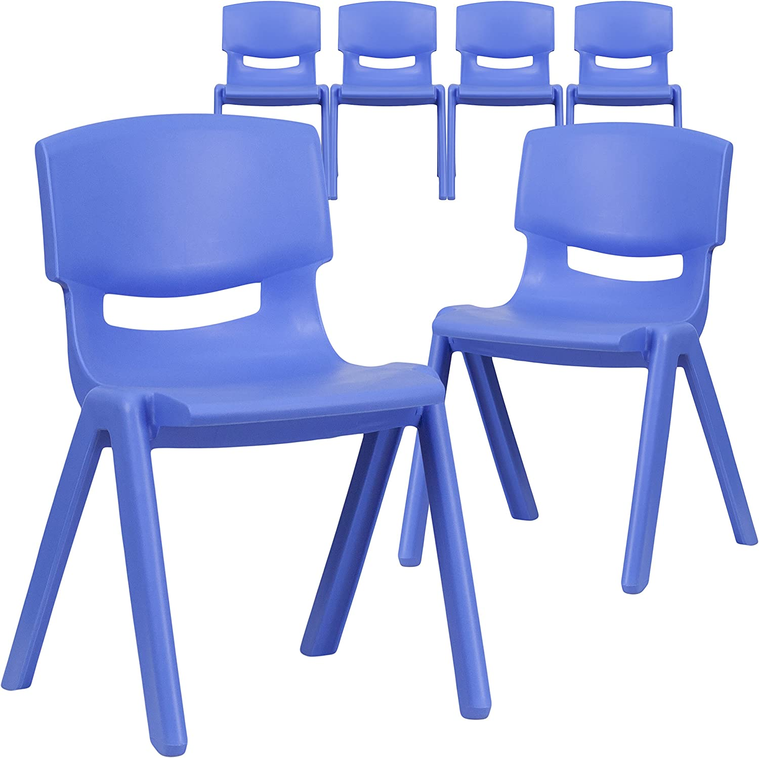 Flash Furniture 6 Pk. Blue Plastic Stackable School Chair with 13.25'' Seat Height