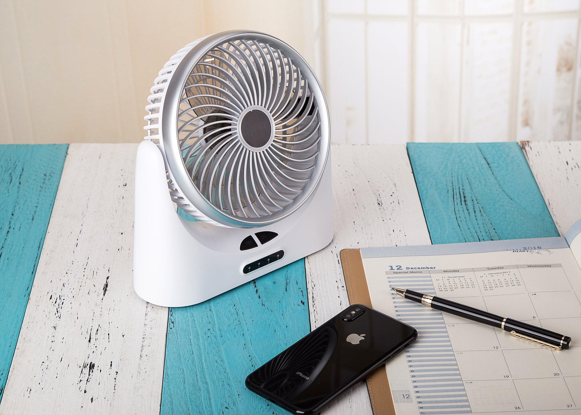 HCMAOE Mini USB Table Desk Personal Portable Air Circulator Fan 3 Speed, Lower Noise, Powered by USB or 4000mAh Rechargeable 18650 Battery with Power bank Function, Side LED Light for Office, (Silver) by HCMAOE (Image #7)