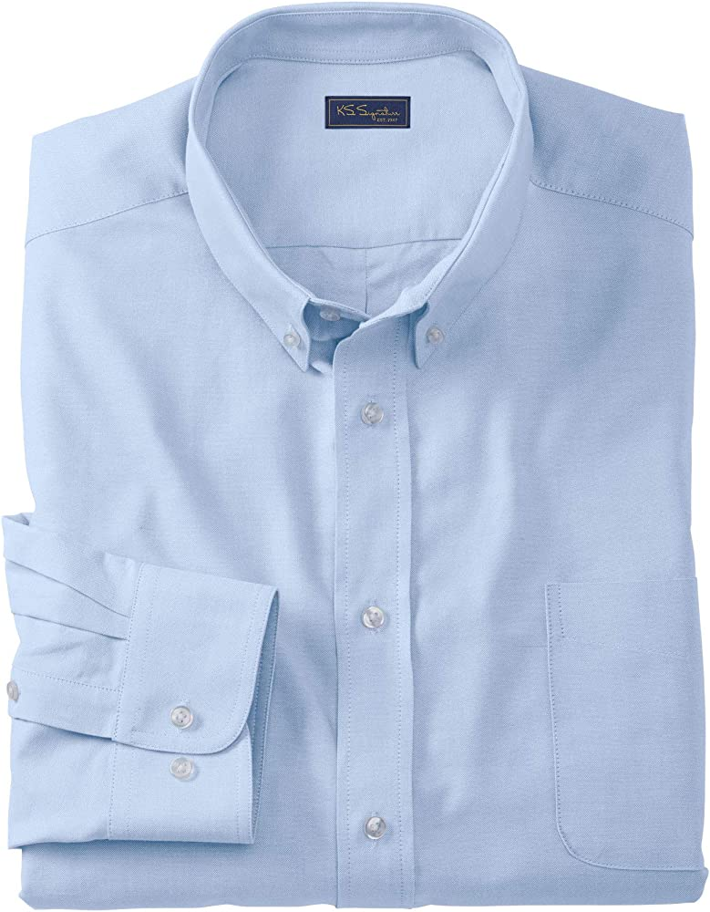 18 39//0 Tall Royal Blue KS Signature by Kingsize Mens Big /& Tall Wrinkle-Resistant Oxford Dress Shirt