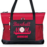 Baseball Mom Sports Tote with Player Name - Red GLITTER on a Red with Black bag