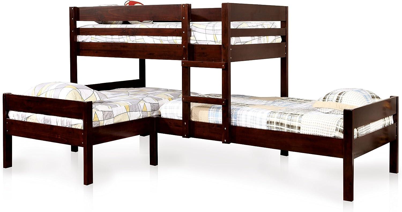 ioHOMES Kalan Transitional 3-Tier Bunk Bed, Twin, Espresso