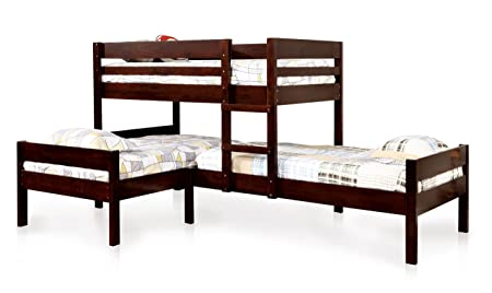 HOMES Inside Out ioHOMES Kalan Transitional 3-Tier Bunk Bed, Twin, Espresso