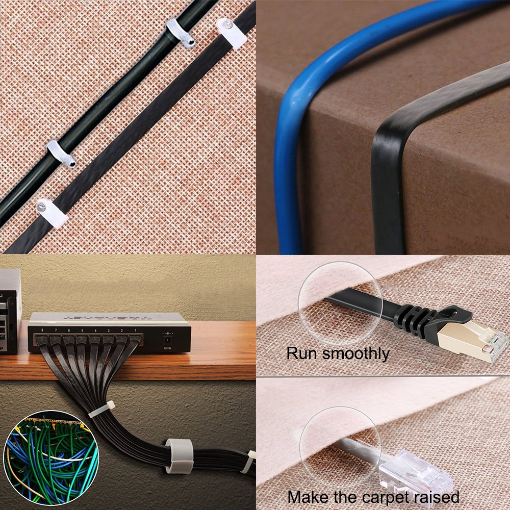 Cat7 Ethernet Cable 100 FT Black, Intelart Cat-7 Long Flat RJ45 Computer Internet Lan Network Ethernet Patch Cable Cord - 100 Feet by Intelart (Image #6)