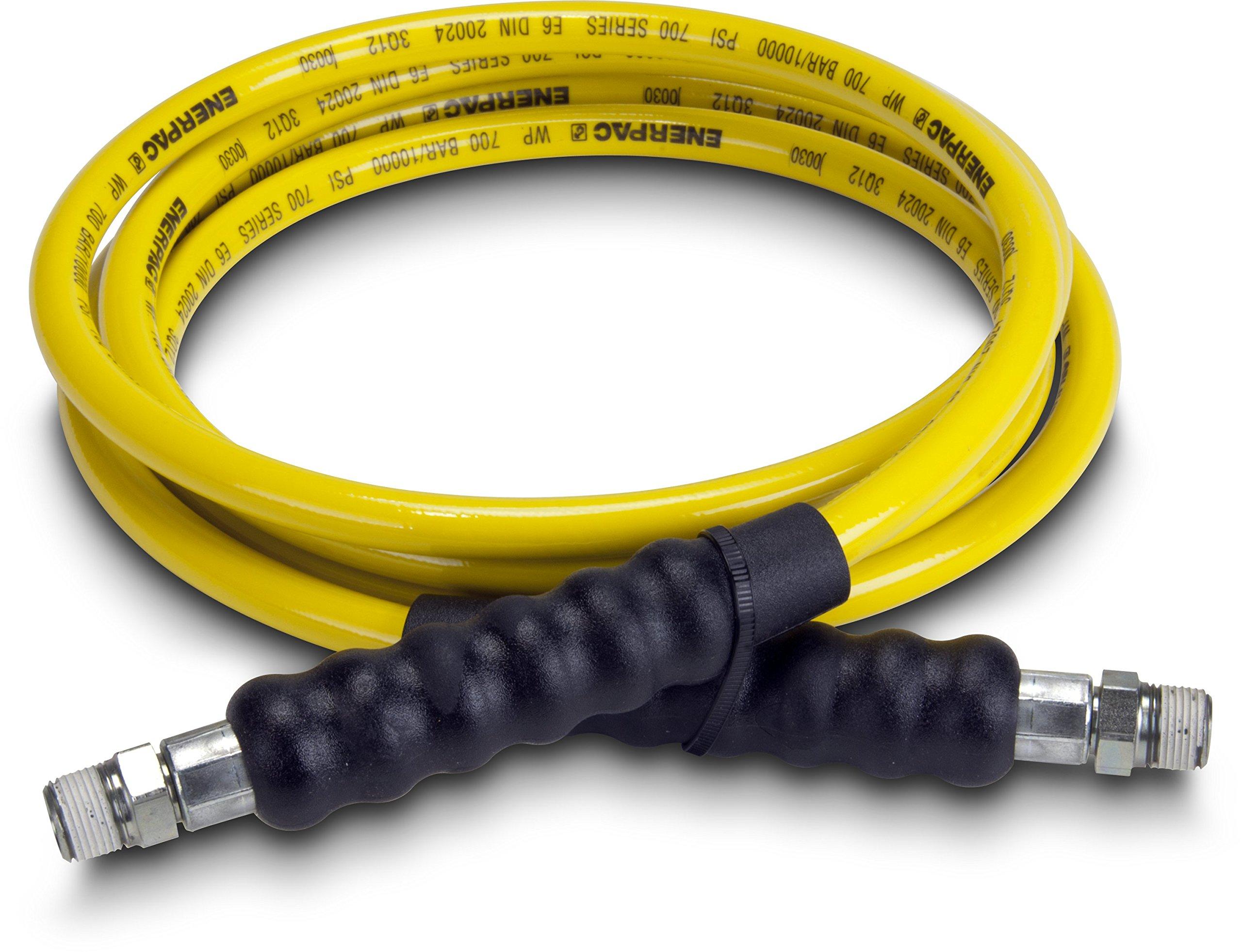 "Enerpac H7210 High Pressure Hydraulic Hose, 700 Series, 10' Length, 0.25"" Diameter, Yellow"