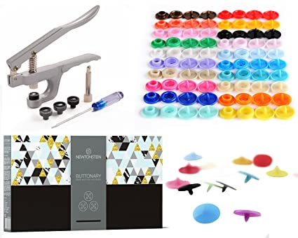 Buttonary - 549 piezas, broche para botones y alicates para T3, T5, T8 con 540 corchetes de plástico para botones en 36 colores + Punzón, ...