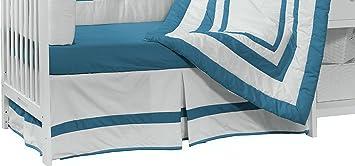 BabyDoll Bedding Modern Hotel Style Crib Dust Ruffle Aqua