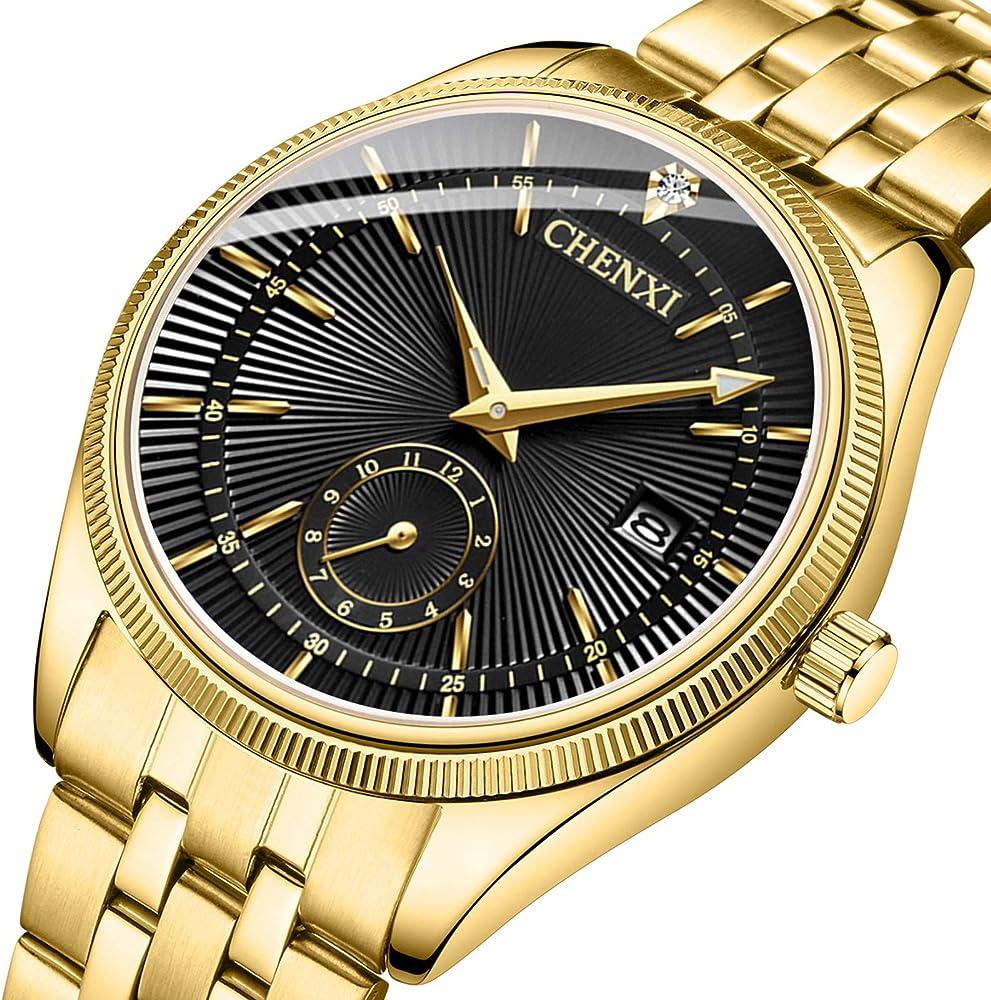 Amazon.com: Fanmis reloj de lujo con esfera de cuarzo negro ...