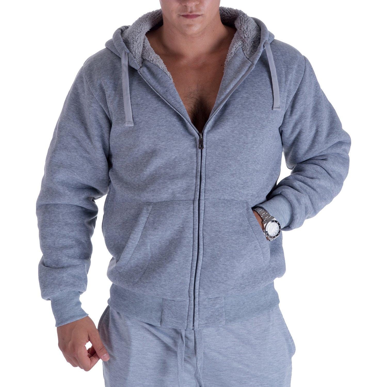1.8 lbs Sherpa Lined Fleece Full Zip Plus Size Sweatshirt Jackets Outwear Gary Com Heavyweight Hoodies for Men
