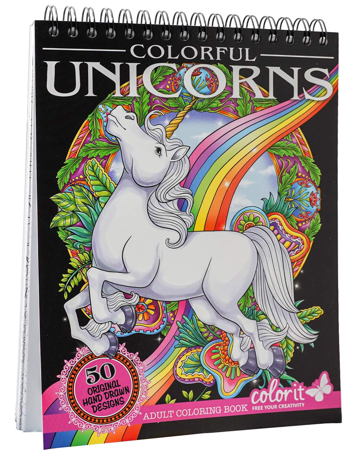 ColorIt Colorful Unicorns Adult Coloring Book - 50 Single-Sided Pages, Thick Smooth Paper, Lay Flat Hardback Covers, Spiral Bound, USA Printed, Hand Drawn Unicorn Coloring Pages by ColorIt