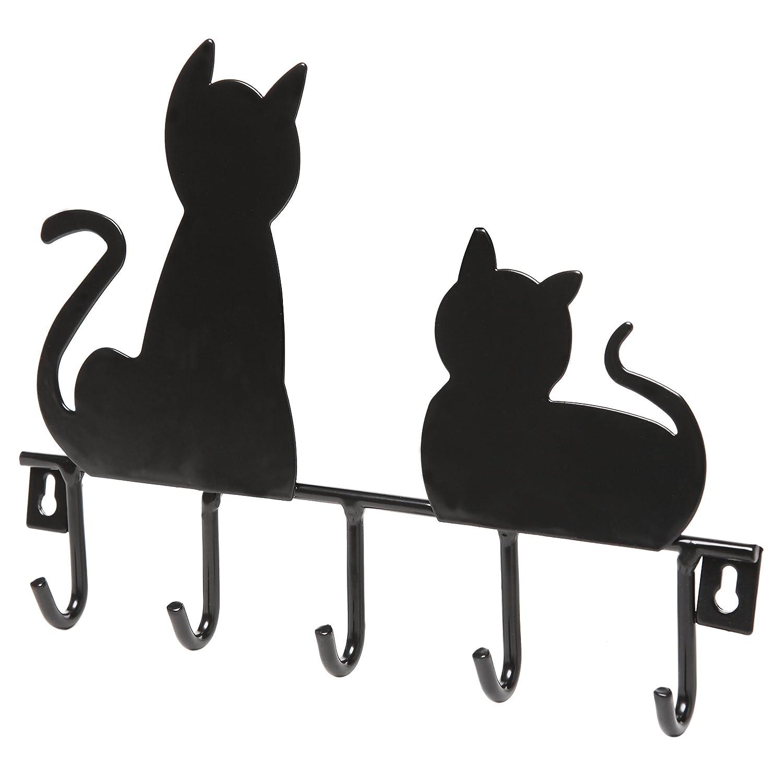 Amazon.com: Black Cats Wall Mounted 5 Key Hooks Metal Hanger Rack ...