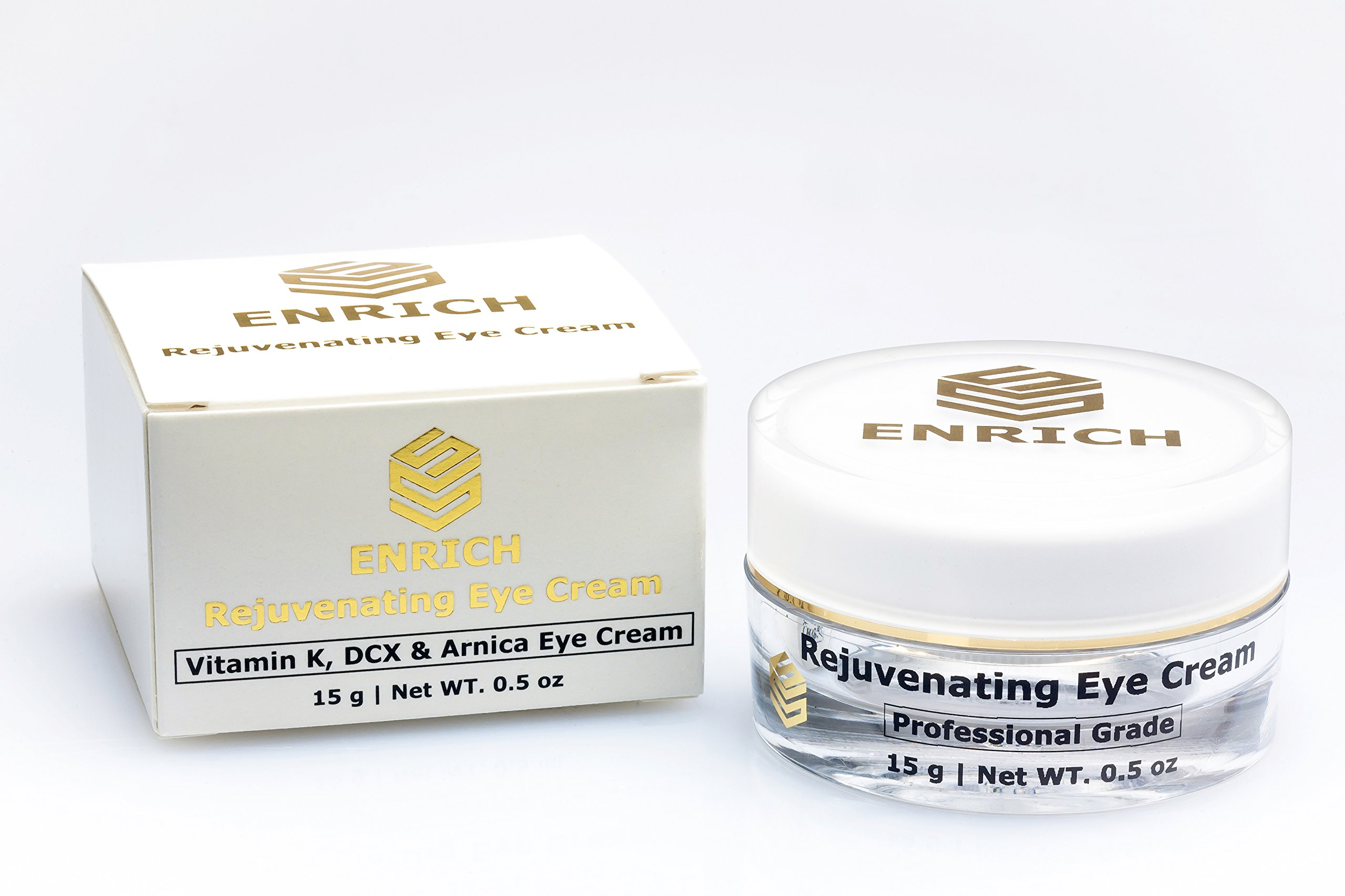 Best Premium Rejuvenating Anti-Aging Eye Cream with Hyaluronic Acid, Vitamin K, DCX and Arnica for correcting dark circles, puffiness, bags & wrinkles. Eye treatment for Women and Men