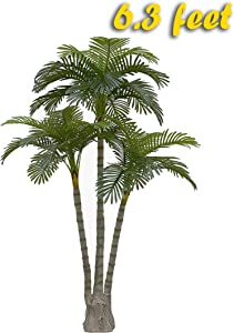 AMERIQUE Gorgeous 6.3 Feet Standable Triple Trunk Artificial Palm Tree, Real Touch Technology, with UV Protection, Super Quality, 5.3', Green