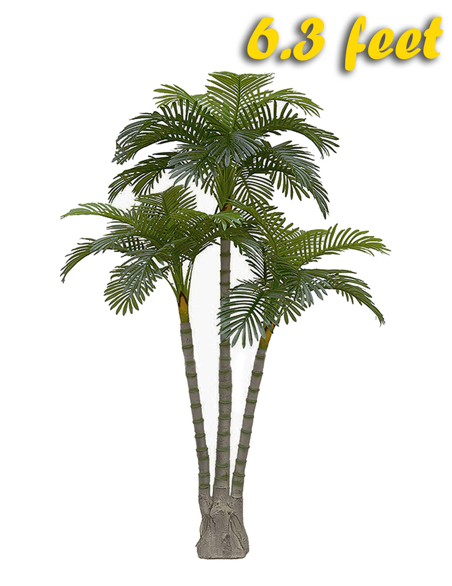 AMERIQUE Gorgeous 6.3 Feet Standable Triple Trunk Artificial Palm Tree, Real Touch Technology, with UV Protection, Super Quality, Green by AMERIQUE