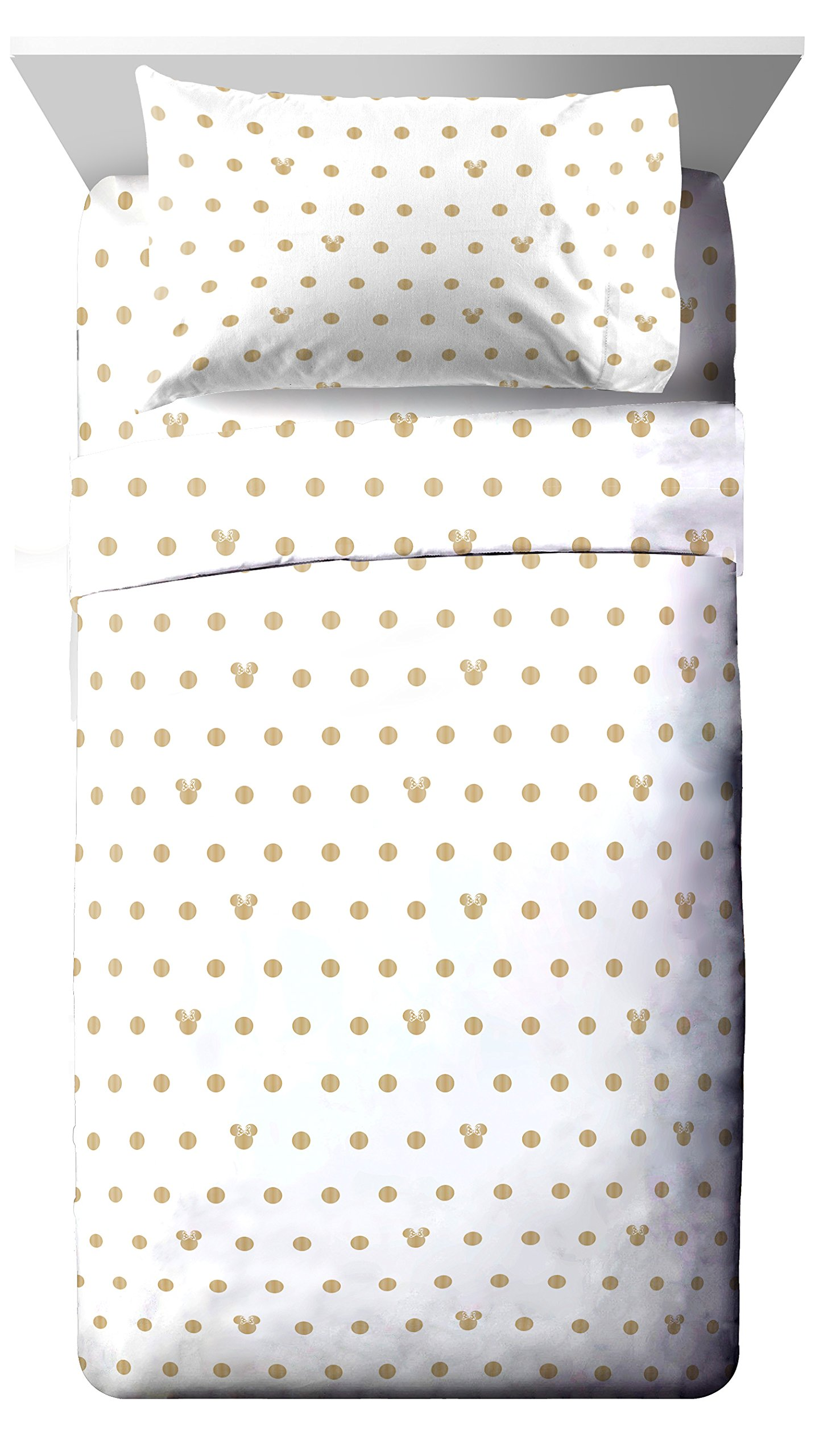 Disney Minnie Mouse Icon and Dots 4 Piece Full Sheet Set, Gold/White