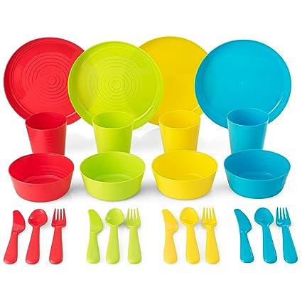 Plastic Dinnerware Set of 4 By Plaskidy - 24 piece Kids dishes Set Includes Kids  sc 1 st  Amazon.com & Amazon.com | Plastic Dinnerware Set of 4 By Plaskidy - 24 piece Kids ...