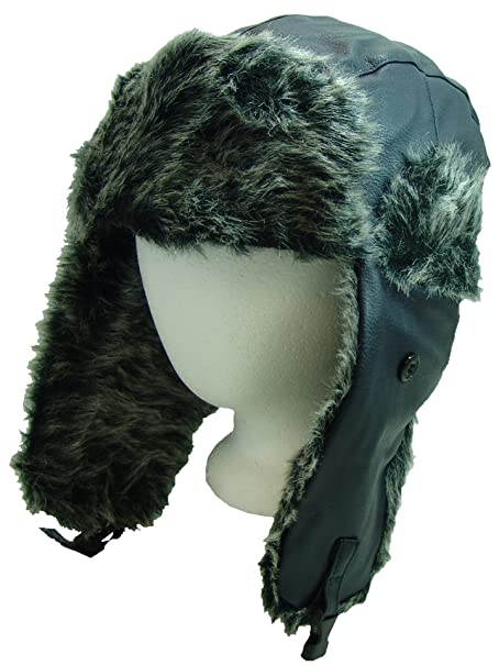 6cdaace59ebbcf Amazon.com: FUROCITY HATS Faux-Leather And Polyester Fur Trapper Hat ...