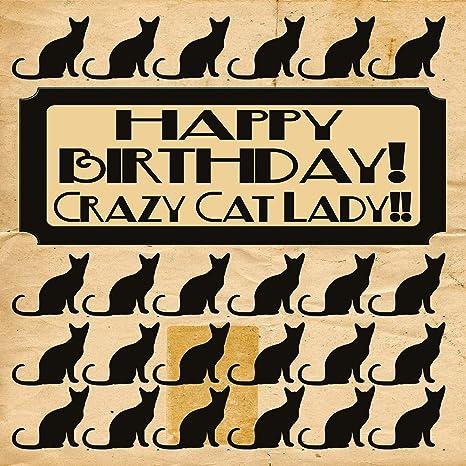 Señora loca del gato Tarjeta de cumpleaños