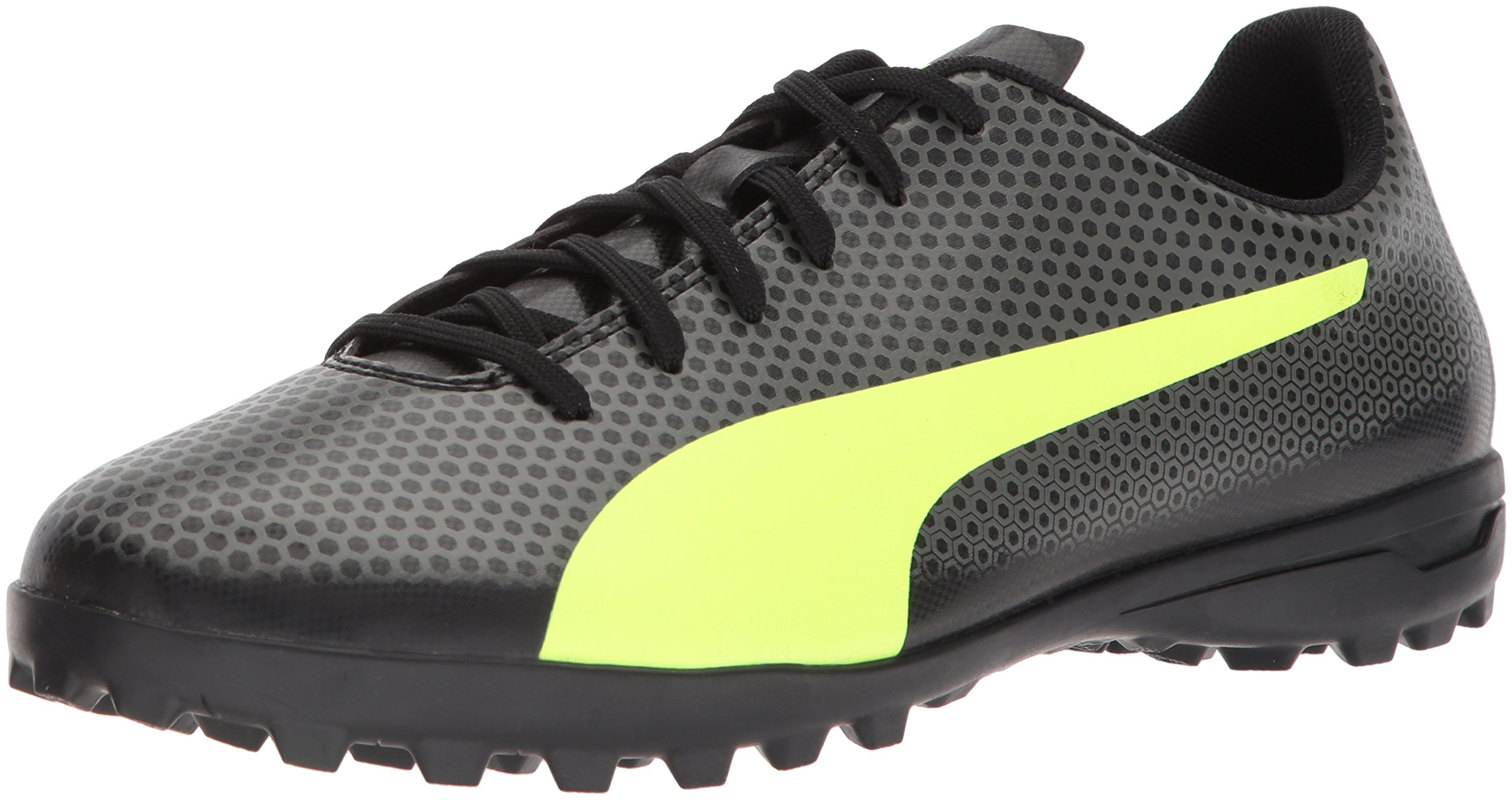 PUMA Men's Spirit Turf Trainer Soccer Shoe, Black-Fizzy Yellow-Castor Gray, 8.5 M US by PUMA