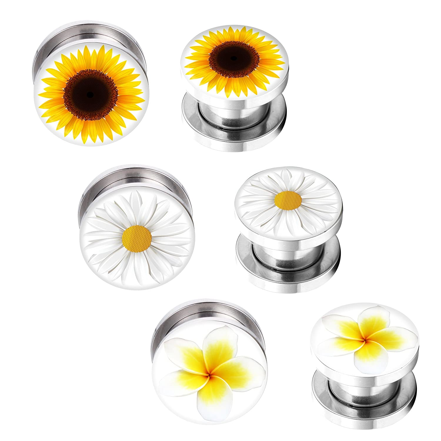BodyJ4You Screw Fit Plugs Flower Kit Stainless Steel Plugs 2G-12mm (6 Pieces) PL6219-12mm