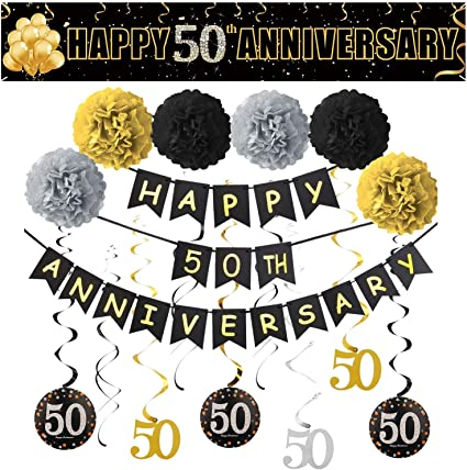 Welcome to Our Wedding Sign Anniversary Sign Printed Wedding Ceremony Sign Black and Gold Sparkle Sign 50th Anniversary Sign
