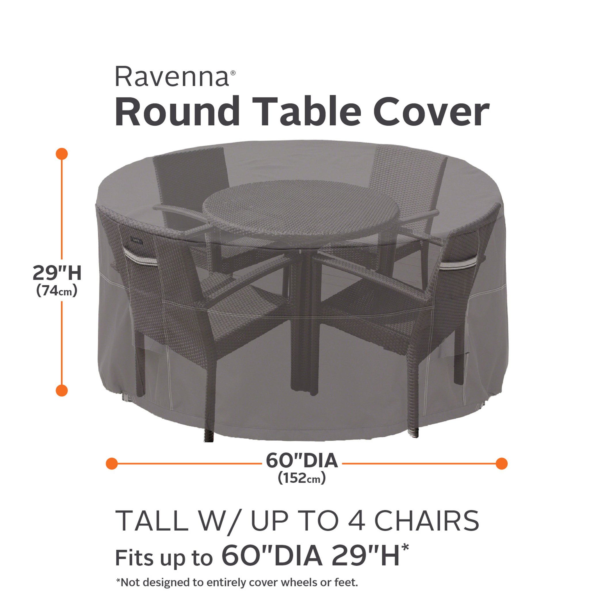 classic accessories ravenna tall round patio table chair set cover