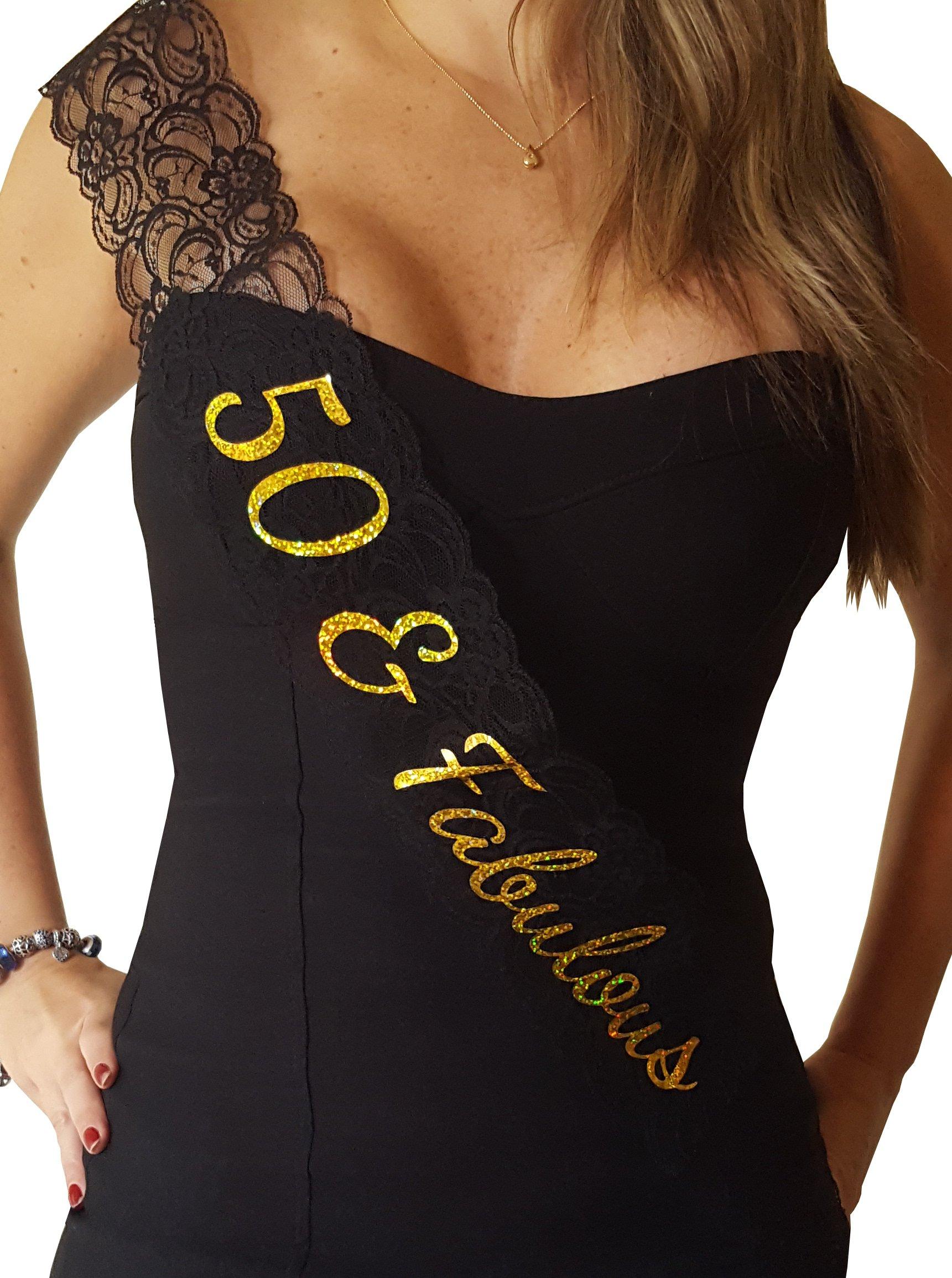 50 & Fabulous Lace Sash - 50th Birthday Sash (Black)