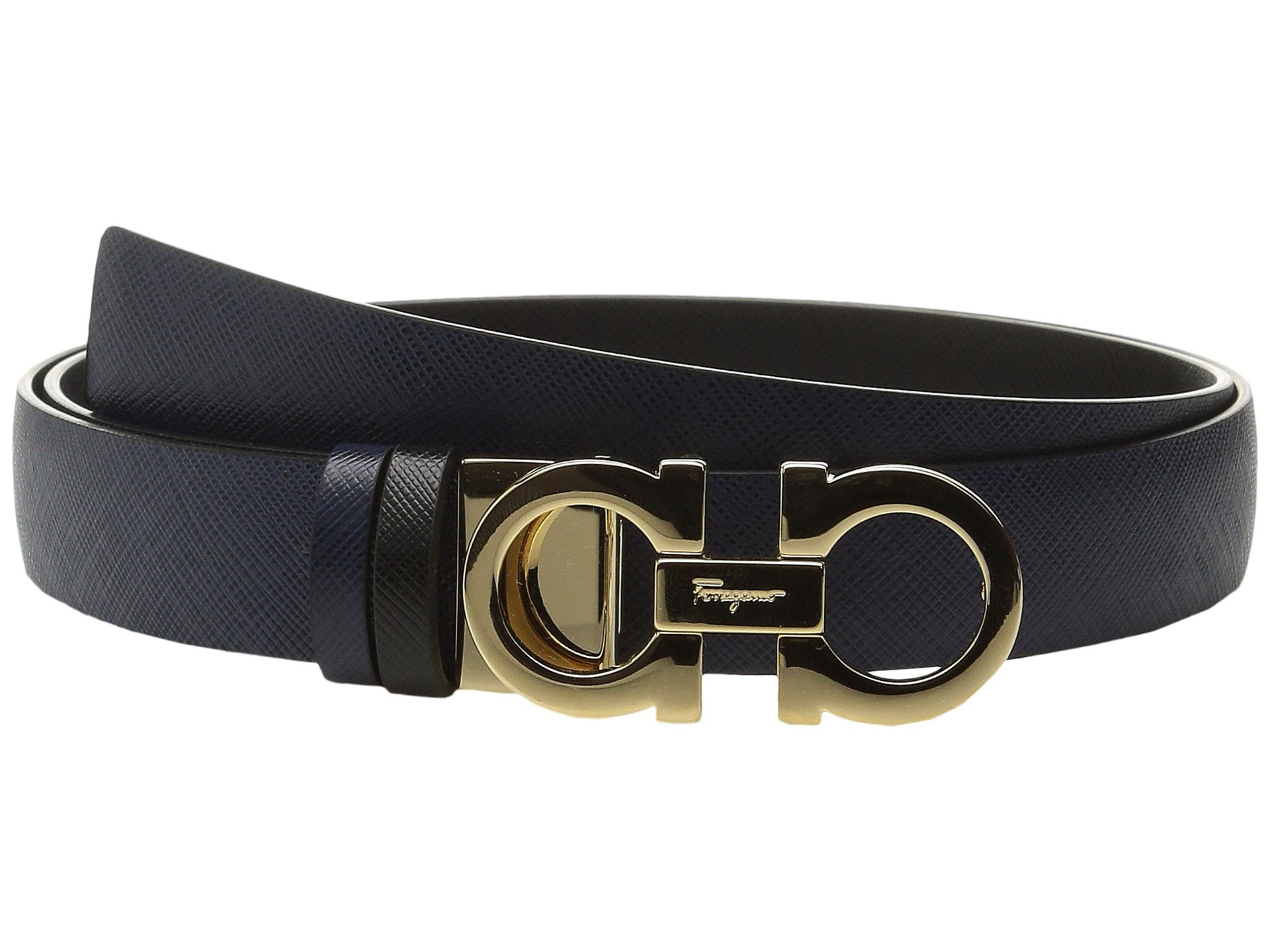 Salvatore Ferragamo Women's 23A565 Double Gancini Belt Oxford Blue 75 (30'' Waist)