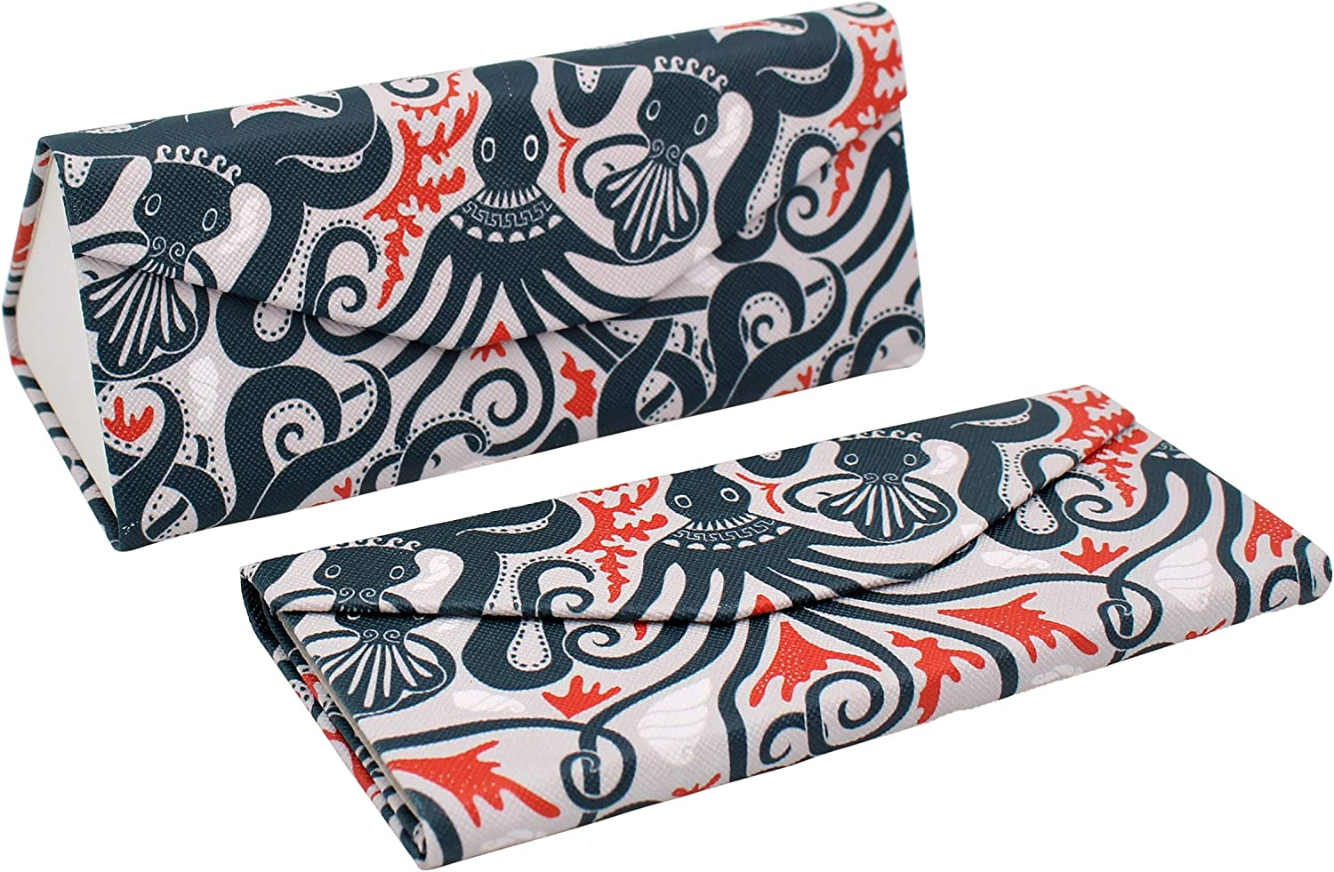 REAL SIC Adorable Animal Glasses Case - Magnetic Folding Eco Leather Feel Hard Case for All Glasses
