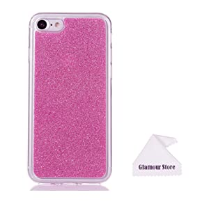 iPhone 7 Case,Hot Pink Bling Glitter TPU Gel Silicone Soft Case Cover Skin Protective For Apple iPhone 7 4.7 inch With a Free Cleaning Cloth As a Gift