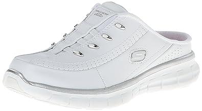 Skechers Sport Women's Elite Glam Fashion Sneaker,White/Silver,6 ...
