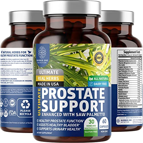 N1N Premium Prostate Supplement for Men 33 Potent Herbs Saw Palmetto Naturally Reduces Frequent Urination, Improves Prostate Health, Promotes Sleep and DHT Blocker to Prevent Hair Loss, 60 Caps