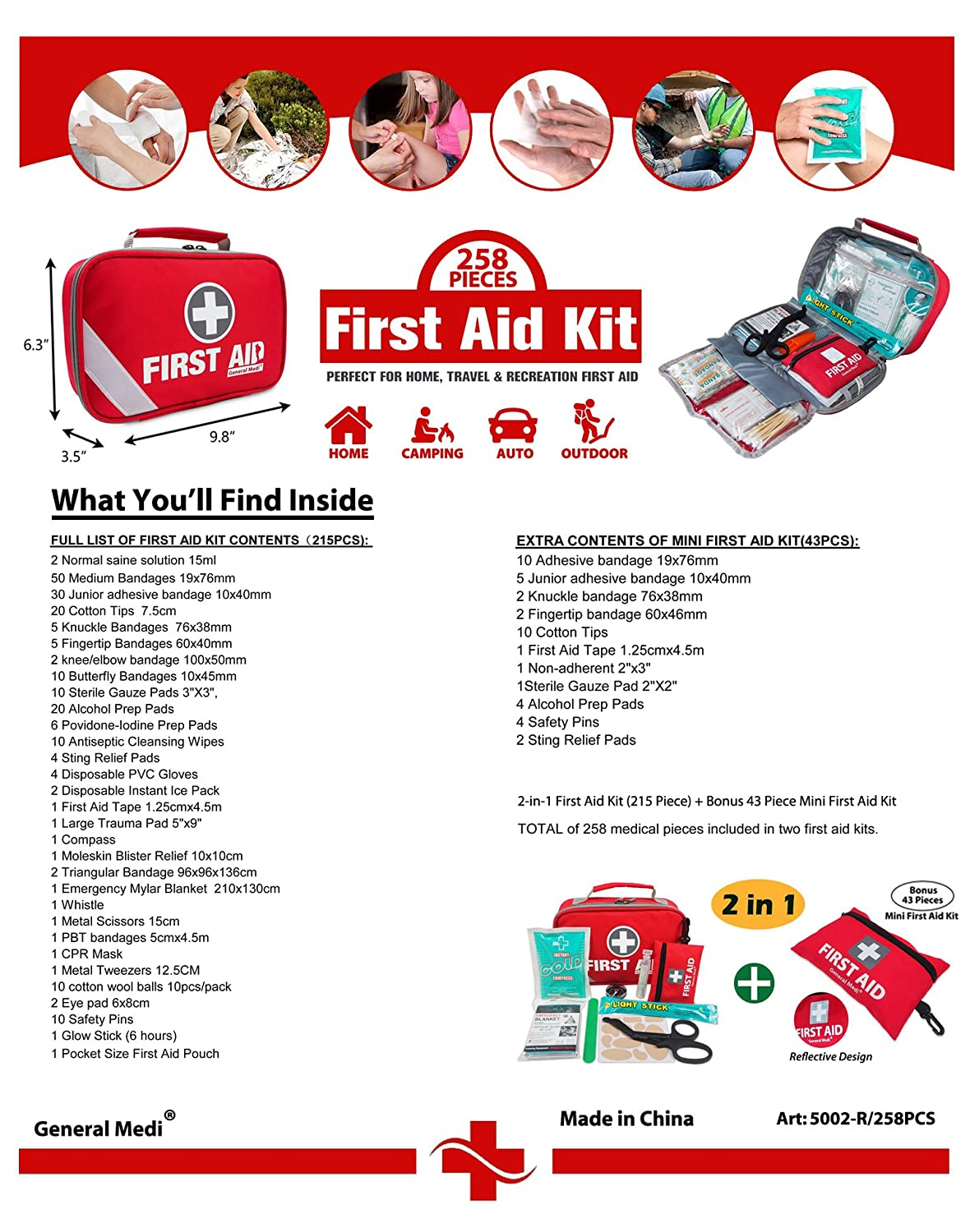 Amazon.com: 2-in-1 First Aid Kit (215 Piece) + Bonus 43 Piece Mini First Aid  Kit -Includes Eyewash, Ice(Cold) Pack,Moleskin Pad,CPR Face Mask and  Emergency ...