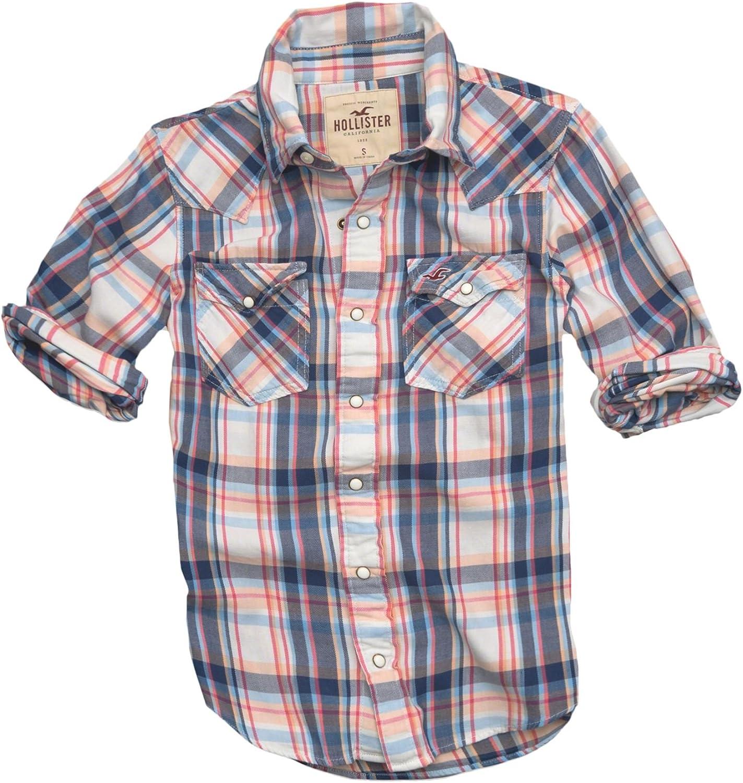 Hollister - Camisa casual - con botones - Cuadrados - Manga corta - para hombre Weiß und Orange Plaid 52: Amazon.es: Ropa y accesorios