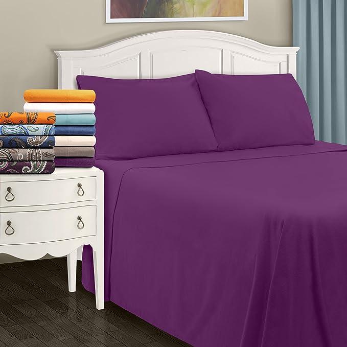 Impressions Superior - Juego de sábanas de Franela 152 x 203 cm, de algodón, Color Morado Liso: Amazon.es: Hogar
