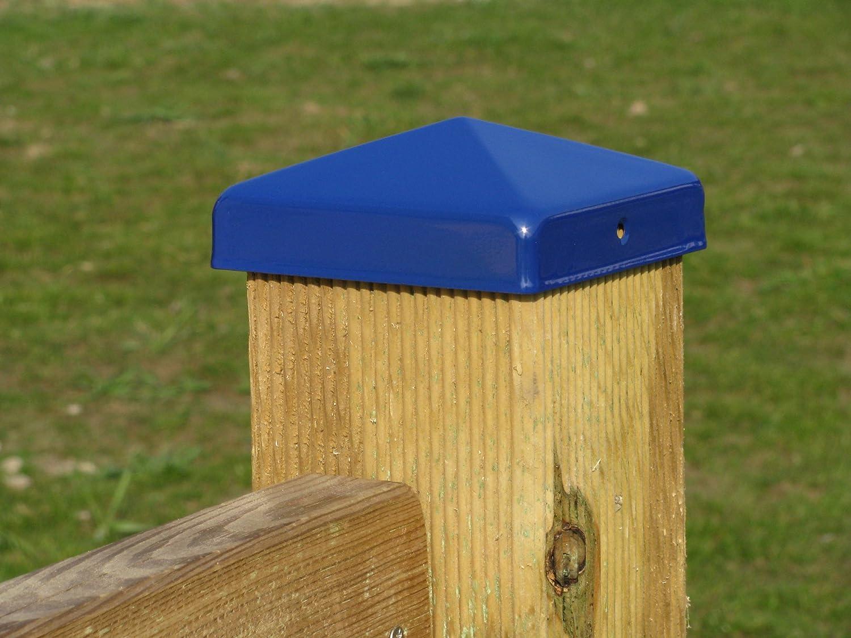 Pfostenkappe Pyramide 90//90 Stahlblech wetterfest pulverbeschichtet in blau /ähnlich RAL 5002