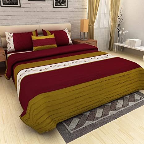 Pret Home King Size Faux Silk Quilted Bedspread Bed Cover with 2 Cushion Covers and 2 Pillow Covers (Olive Maroon)