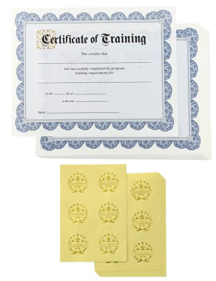 amazon com certificate paper 48 certificate of training award