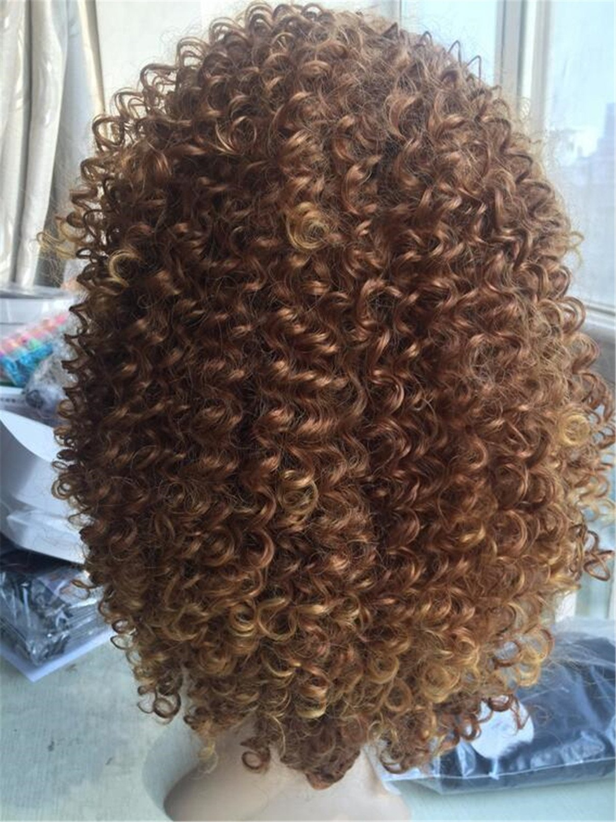 ATOZWIG Synthetic Short Afro Kinky Curly Wig Glueless Brown Blonde Colour Synthetic Hair With Bangs Baby Hair