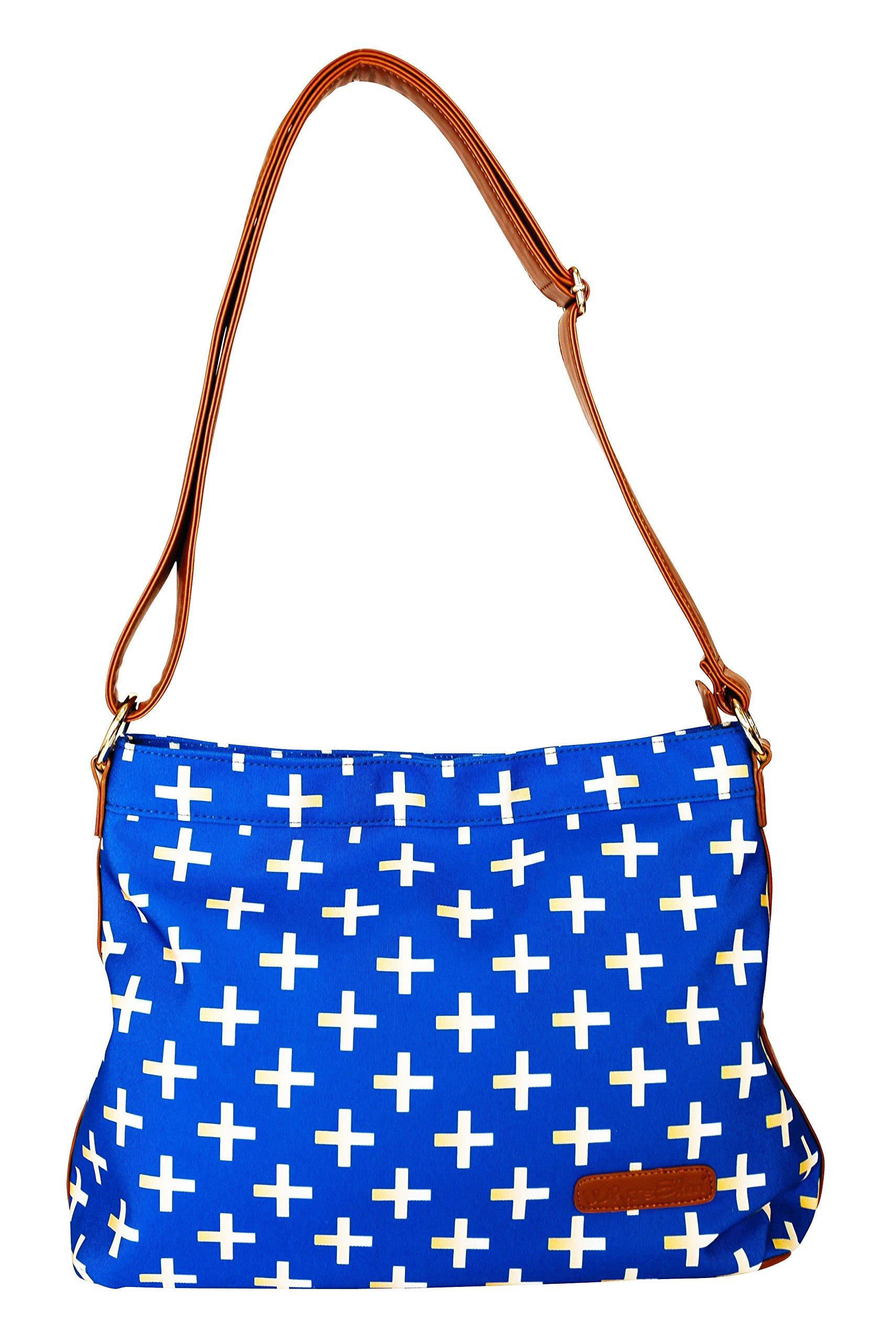 Blue & Gold Crosses Hobo Crossbody Bag by White Elm | Canvas & Vegan Leather