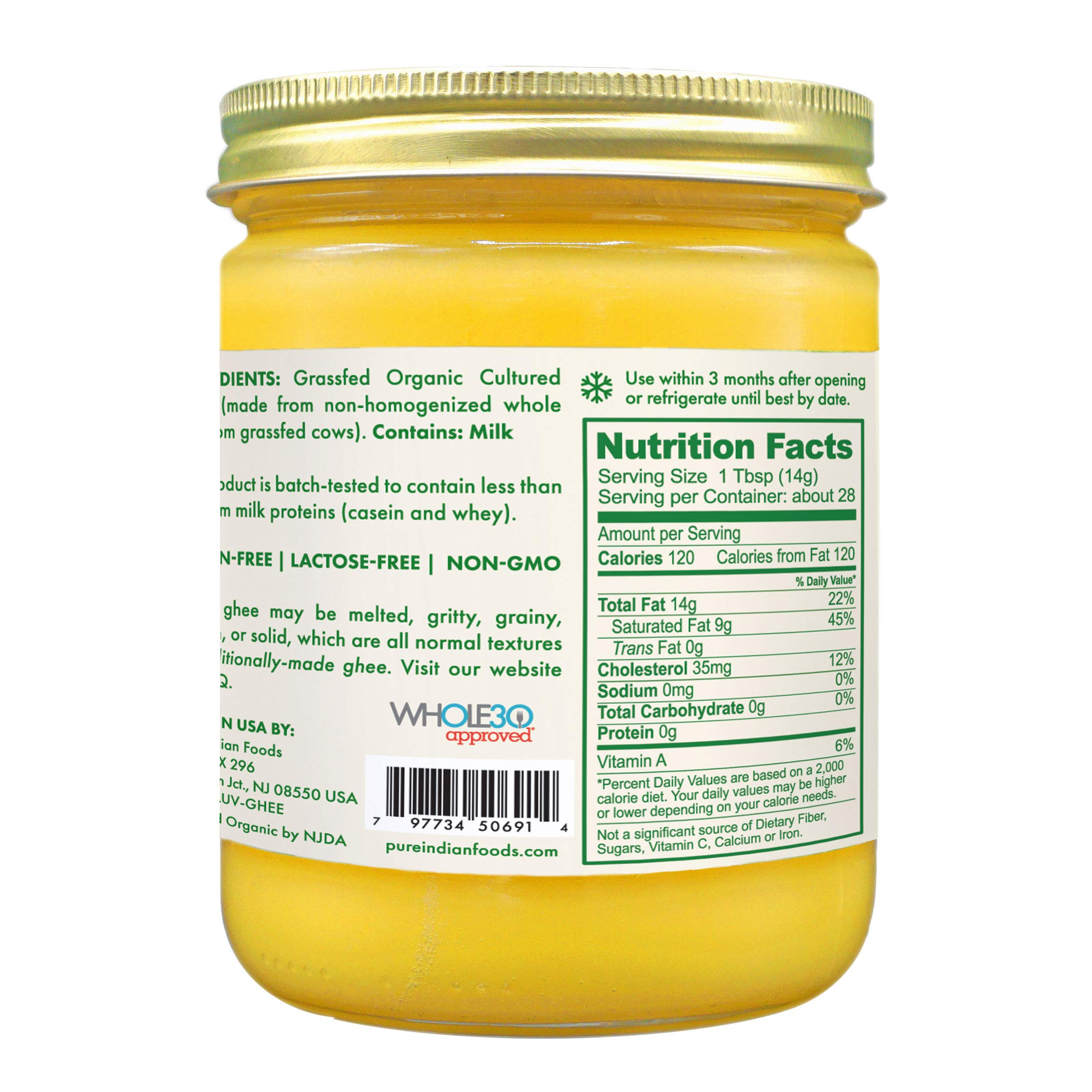 Grassfed Organic Cultured Ghee 14 Oz. - Pure Indian Foods(R) Brand by Pure Indian Foods (Image #3)