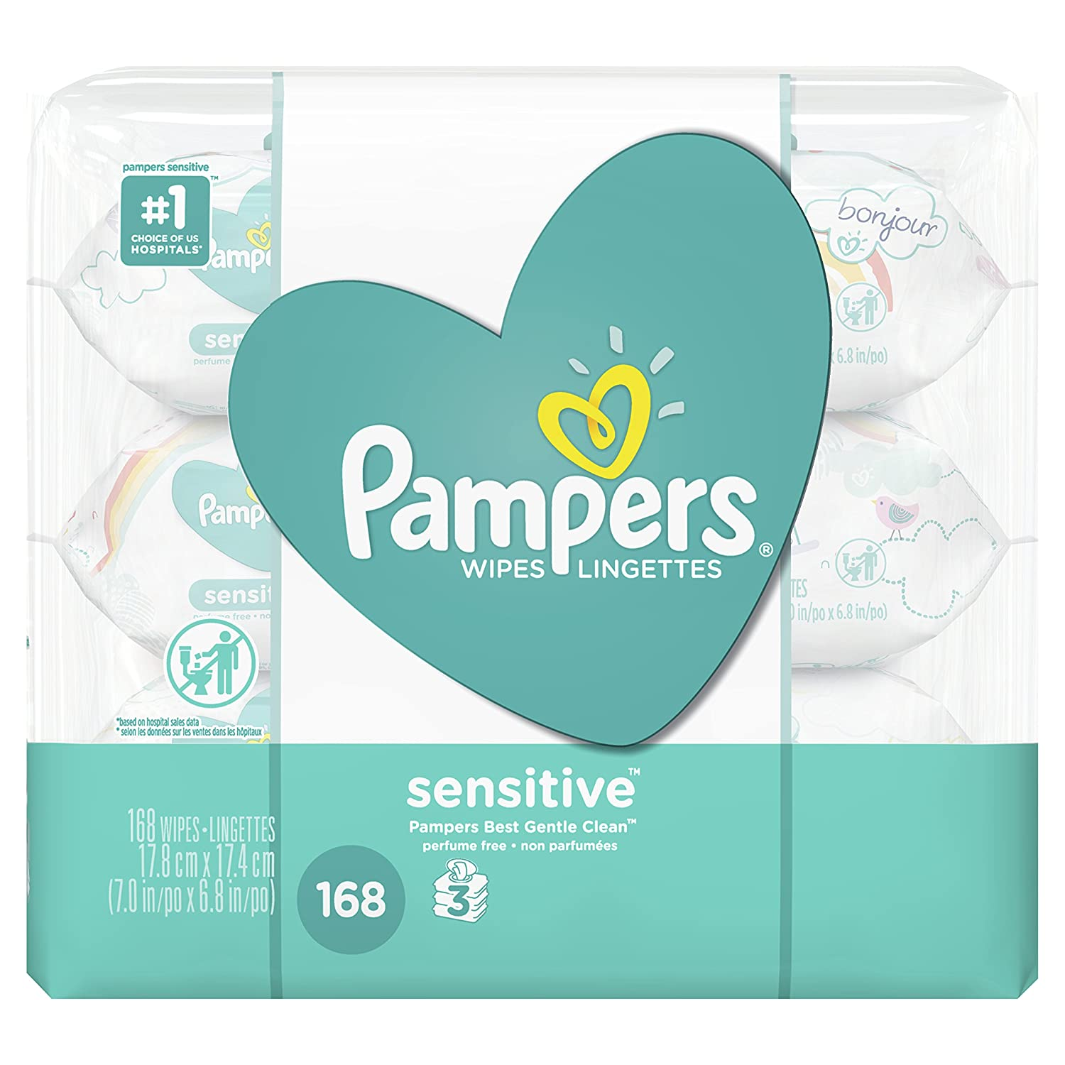 Pampers Baby Wipes Sensitive UNSCENTED 3X Pop-Top, 168 Count NA